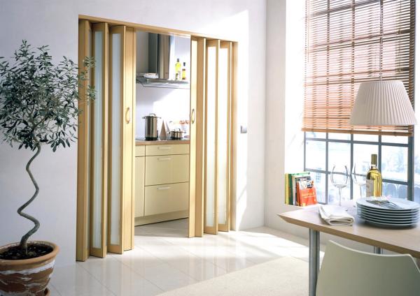 Комбинированная дверь-гармошка