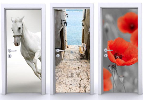 Дверь оклеяна фотообоями