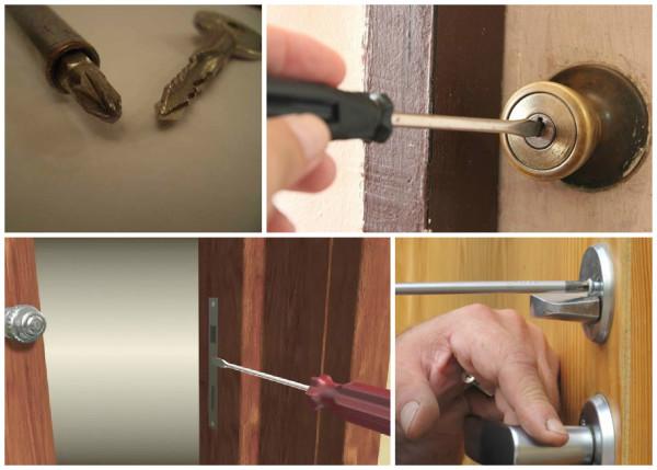 Способы открывания двери отверткой