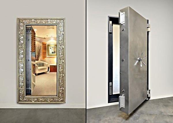 Использования зеркала для потайной двери