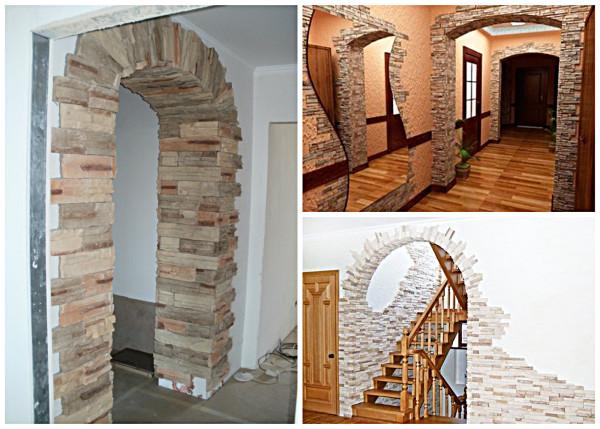 Декорирование арки плиткой