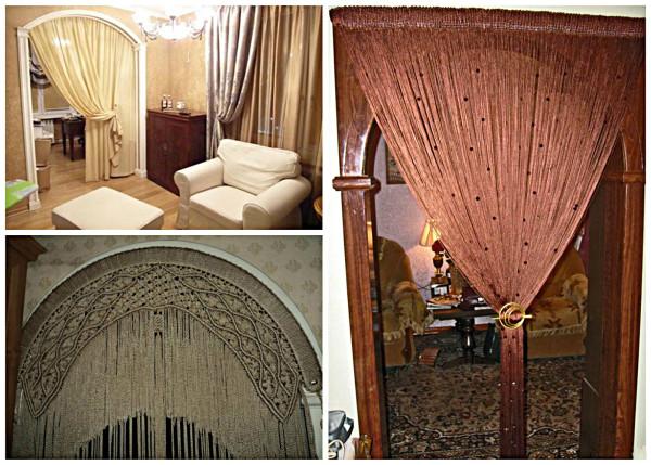 Декорирование арки с помощью штор
