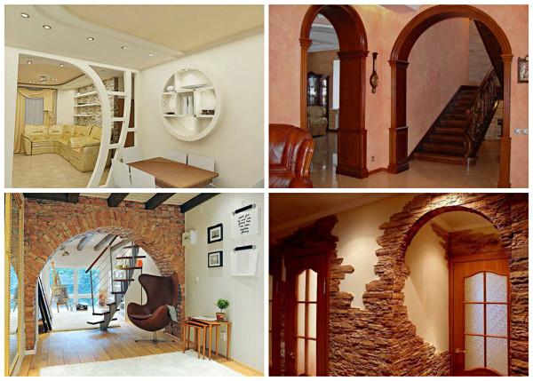 Разновидности материалов арочных проемов