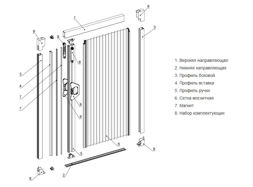 Комплектующие двери-гармошки с