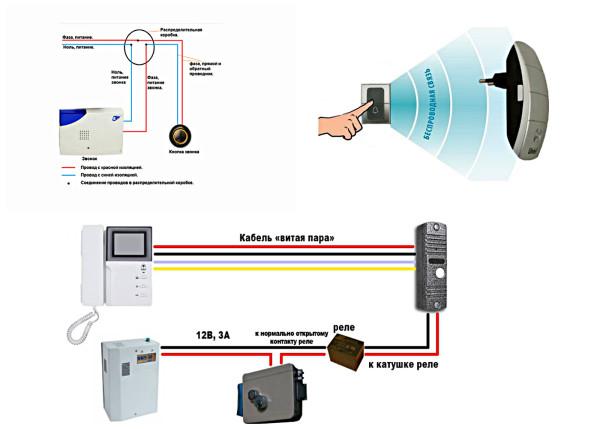 Схемы подключения дверных звонков