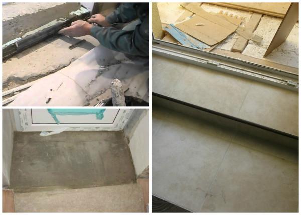 Устройство порога-ступеньки из бетона
