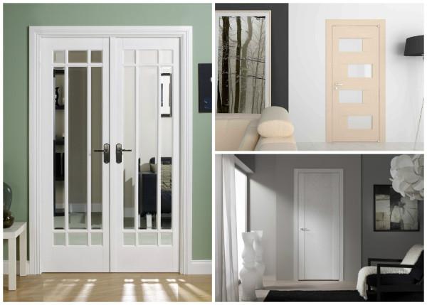 Двери с зеркалом, стеклом, глухие