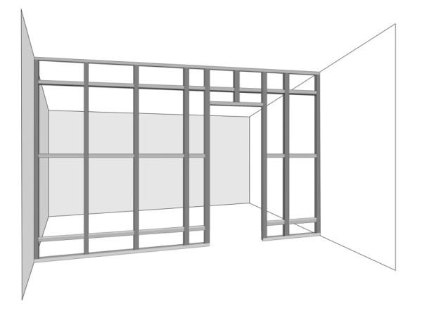 Схема устройства дверного проема в гипсокартонной перегородке